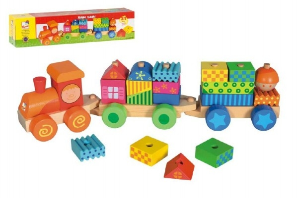 Teddies Vlak s domečky dřevo 21 dílků v krabici od 18 měsíců