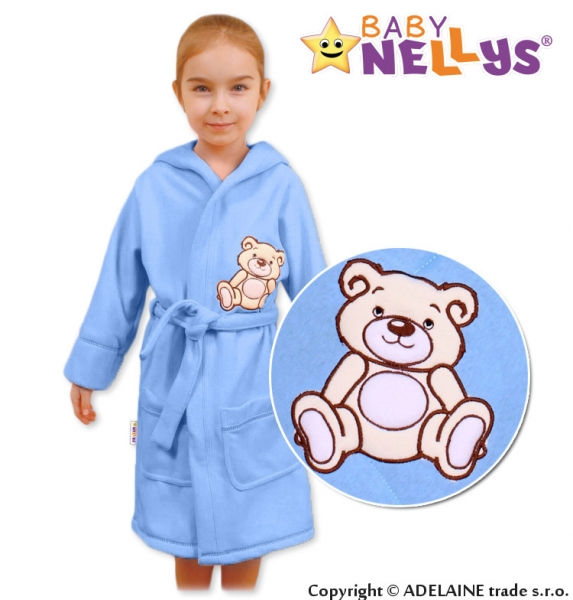 Baby Nellys Detský župan - Medvedík Teddy - sv. modrý, veľ. 98/104