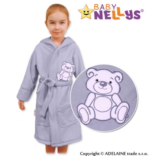 Baby Nellys Detský župan - Medvedík Teddy- sivý