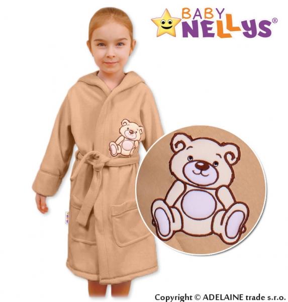 Baby Nellys Detský župan - Medvedík Teddy - bežová, veľ. 98/104