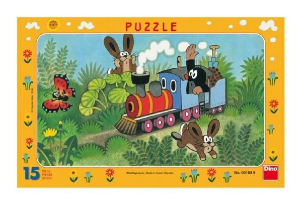 Teddies Puzzle doskové Krtko a lokomotíva 29,5x19cm 15 dielikov
