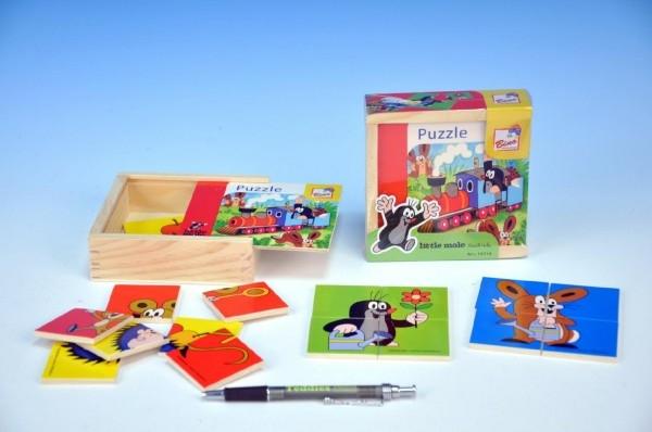 Skladačka Puzzle pre najmenších Krtko drevo 16ks v drevenej krabičke od 10 mesiacov
