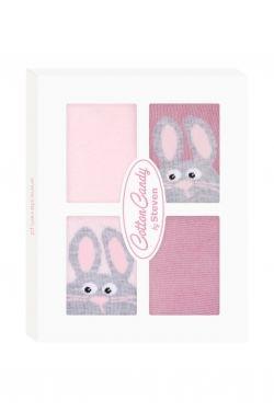 Dojčenské ponožky CANDY BOX - Králiček ružový