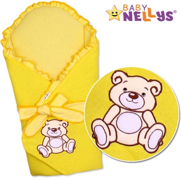 Zavinovačka s výztuží Baby Nellys - Medvídek Teddy - jersey - krémovo / žltá