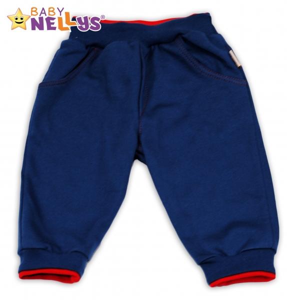 Tepláčky Baby Nellys® - modré/červený lem