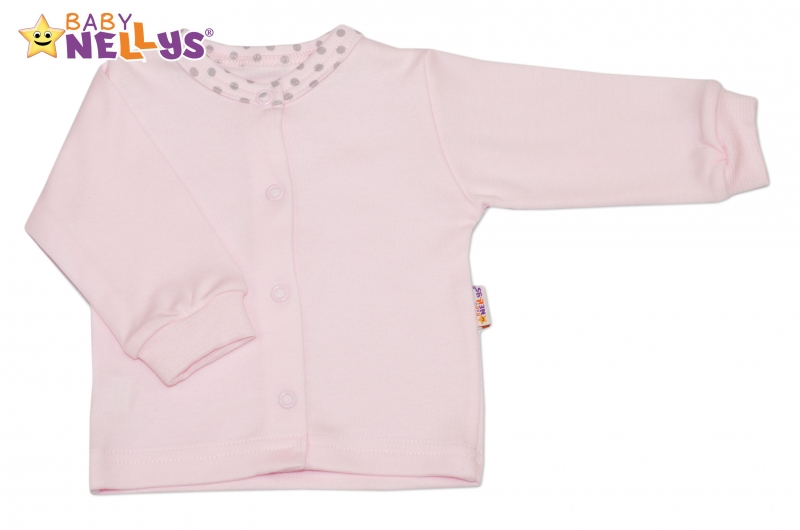Bavlnená  košieľka Baby Nellys® Bodky - sv. ružový / zv. šedé bodky-74 (6-9m)