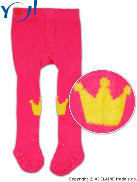 YO! Bavlnené pančucháčky ABS na chodidle i priehlavku - malinové s korunkou-74 (6-9m)