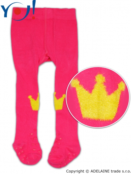 YO! Bavlnené pančucháčky ABS na chodidle i priehlavku - malinové s korunkou-80 (9-12m)