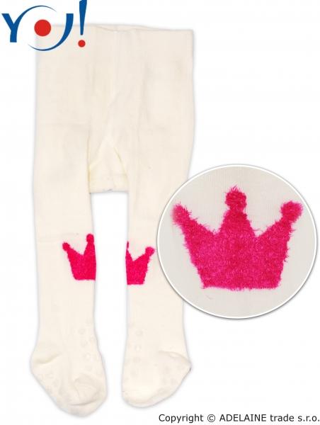 YO! Bavlnené pančucháčky ABS na chodidle i priehlavku - smotanové s korunkou-80 (9-12m)
