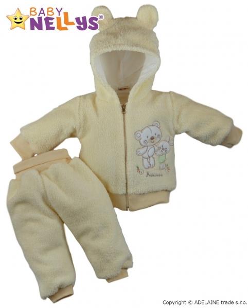 Chlupáčkový komplet Uško Baby Nellys ® - krémový, veľ. 68