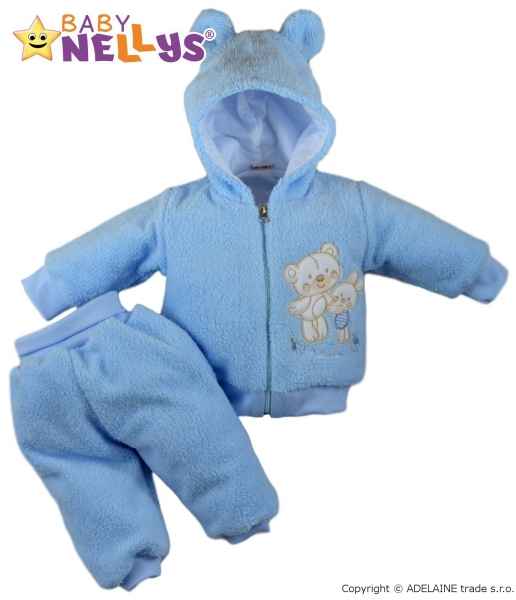 Chlupáčkový komplet Uško Baby Nellys ® - modrý