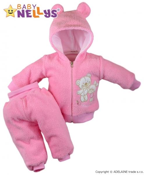 Chlupáčkový komplet Uško Baby Nellys ® - ružový, veľ. 86