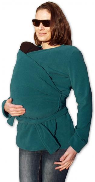 JOŽÁNEK Zavinovací kabátik pre nosiacich, tehotné - fleece - petrolejový