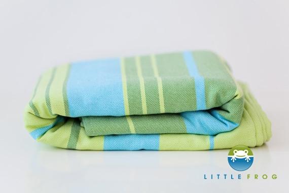 Little FROG Tkaná šatka na nosenie detí s bambusom - Bamboo Turquoise, veľ. XXL