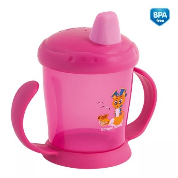 Hrnček Canpol Babies s tvrdým náustkom - ružový