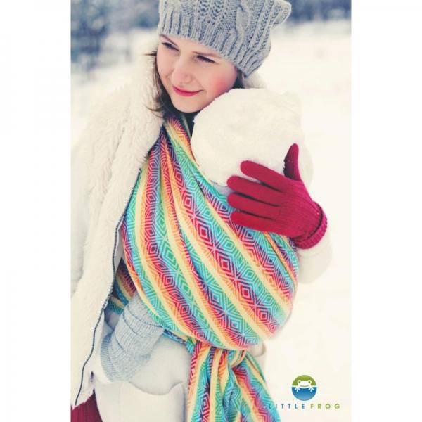 Little FROG Žakárová tkaná šatka na nosenie detí -  Rainbow Cube XL - 5,2m