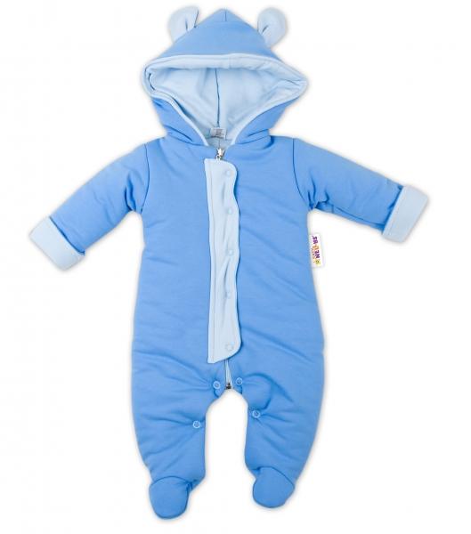 Oteplenie overal / kombinézka s kapucňu a uškami Baby Nellys ® - modrý, veľ. 62-62 (2-3m)