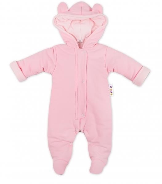 Oteplenie overal / kombinézka s kapucňu a uškami Baby Nellys ® - ružový, veľ. 62-62 (2-3m)