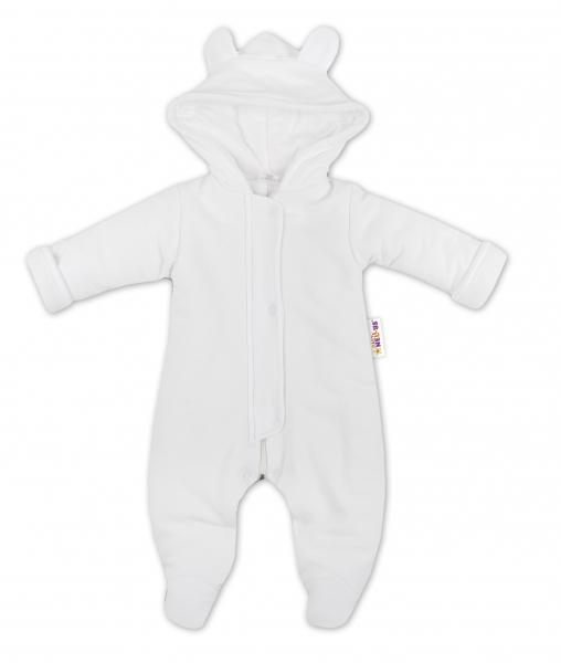 Oteplenie overal / kombinézka s kapucňu a uškami Baby Nellys ® - bielý, veľ. 62-62 (2-3m)