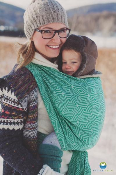 Little FROG Žakárová tkaná šatka na nosenie detí -  GREEN CUBE veľ. L - 4,6m
