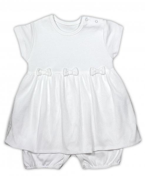 Sukničkobody NICOL PRIATELIA s mašličkou - BIO bavlna - krátky rukáv - smotanovej