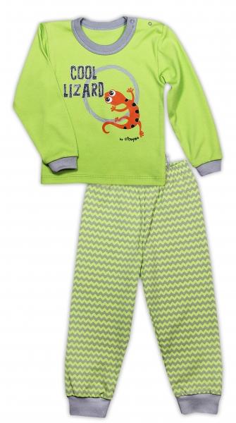 Bavlnené pyžamko NICOL JAŠTERICA - zigzag/hráškovo zelená-80 (9-12m)