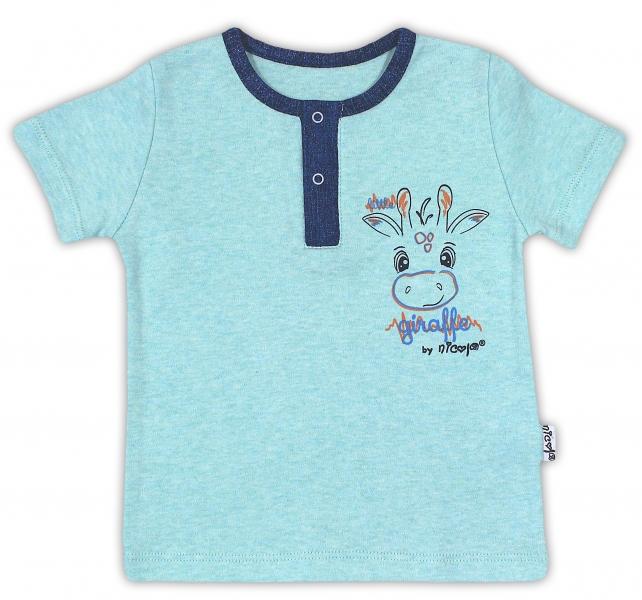 Bavlnené tričko NICOL ŽIRAFKA - krátky rukáv - mätová, 86 (12-18m)