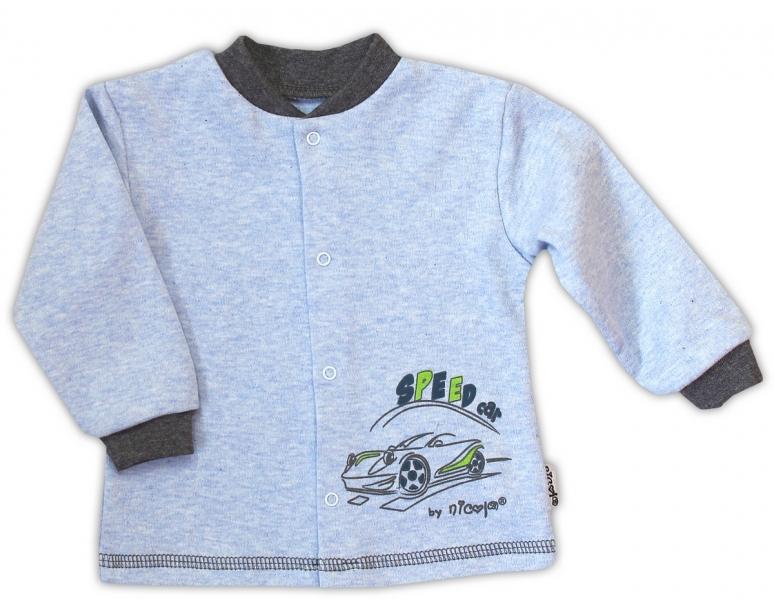 Bavlnená košieľka NICOL AUTO - melír sv. modrá-74 (6-9m)