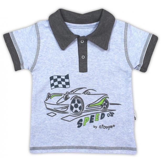 Bavlnené tričko/polo NICOL AUTO - krátky rukáv - melír sv. modrá-98 (24-36m)