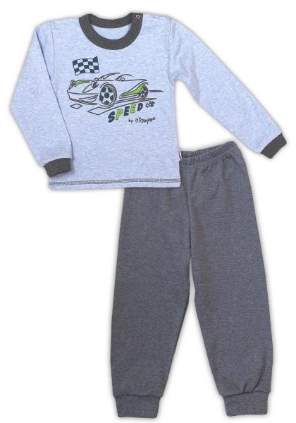 Bavlnené pyžamko NICOL AUTO - melír sv. modrá/tm. sivá-80 (9-12m)