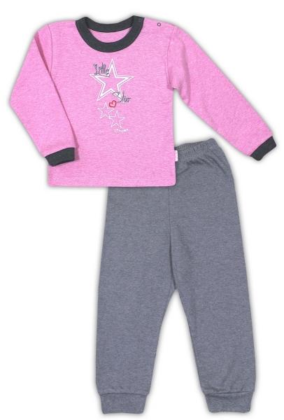 Bavlnené pyžamko NICOL SUPERSTAR - melír ružová/tm. šedá