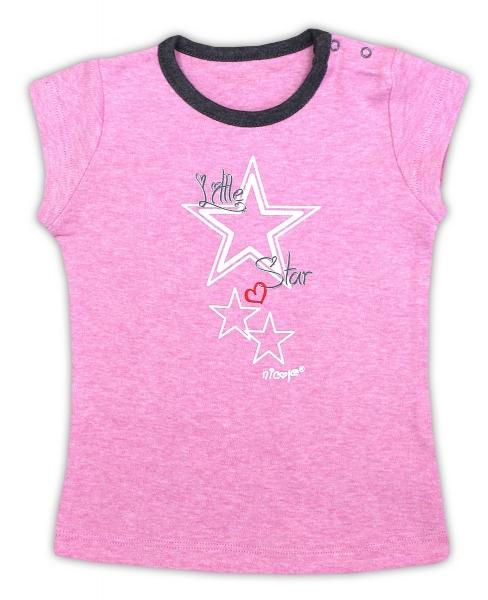 Bavlnené tričko NICOL SUPERSTAR - krátky rukáv - melír ružová, 74 (6-9m)