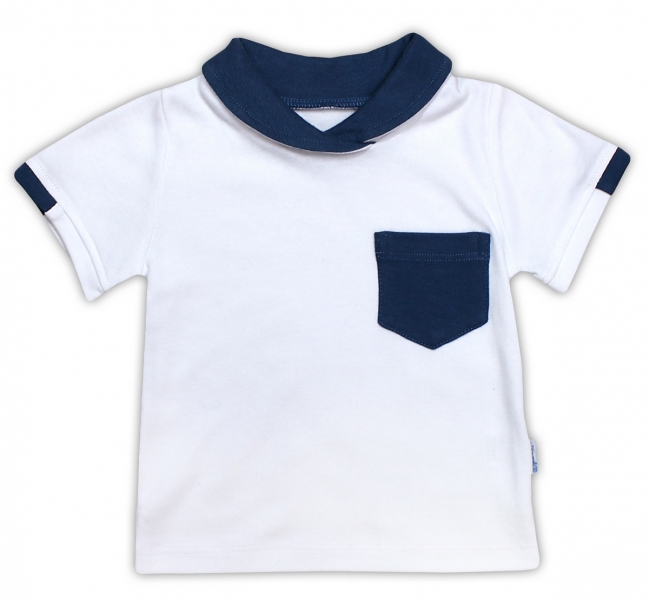 Bavlnené tričko / polo NICOL SEDEM - krátky rukáv - biela, 98 (24-36m)