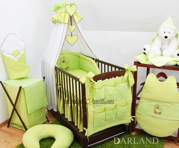 Luxusný mega set Š - Medvedík so srdiečkom kostička zelená