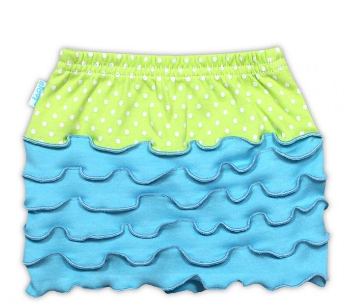 Suknička NICOL KVETINKA - sv. modrá/zelená bodka-#Velikost koj. oblečení;80 (9-12m)