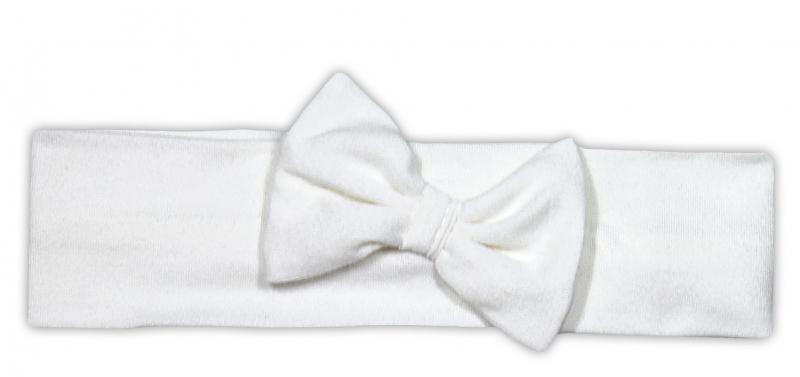 Čelenka NICOL PRIATELIA s mašličkou - BIO bavlna - smotanová