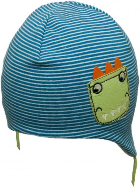 YO !  Bavlnená čiapočka YO! Dráčik - modrá prúžok / sivá - so zaväzovaním-38/40 čepičky obvod
