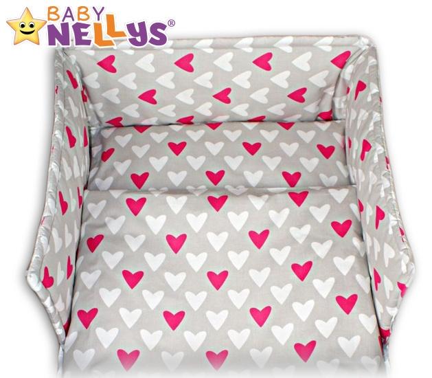 Mantinel s obliečkami - Srdiečka růžové / biela v šedej-120x90