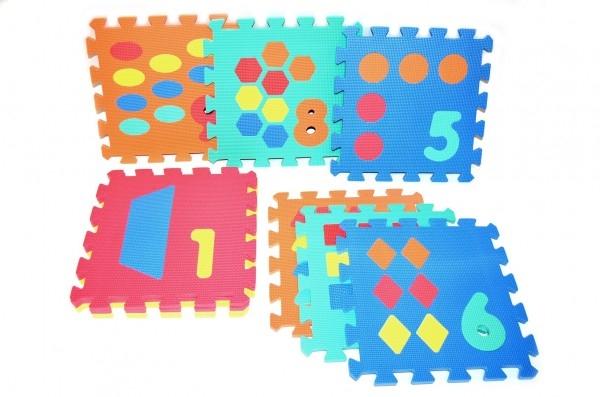 Teddies Penové puzzle Počítání/Tvary 30x30cm 10ks v sáčku