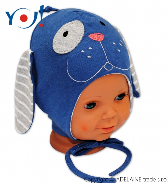 YO !  Bavlnená čiapočka YO! PSÍK - modrá / šedý prúžok - so zaväzovaním-40/42 čepičky obvod
