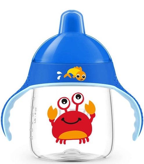 AVENT Prvý hrnček / fľaštička nekapek KRAB - modrý