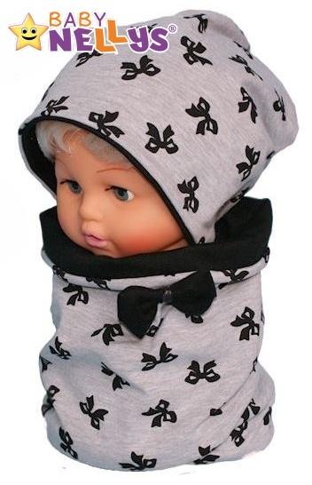 Bavlnená sada čiapočka / nákrčník s mašličkami Baby Nellys ® - sivý melírek