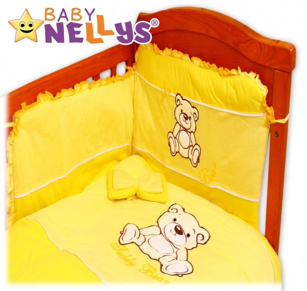 BABY NELLYS Obliečky do postieľky 2D Teddy - jersey - žltý