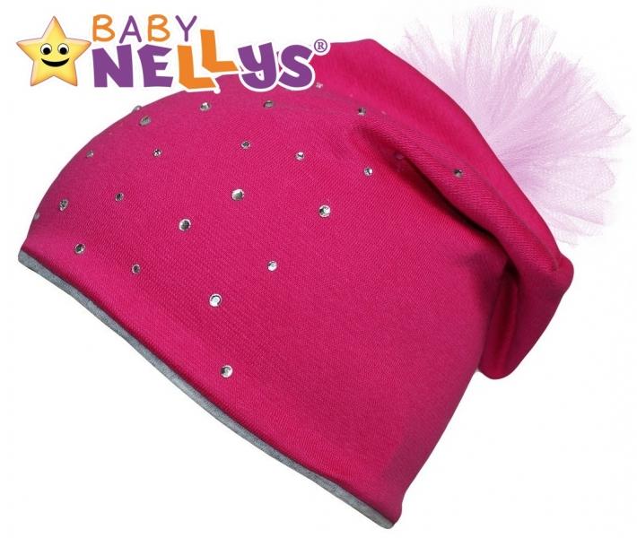 Bavlnená čiapočka Tutu kvetinka s kamienkami Baby Nellys ® - sýto ružová