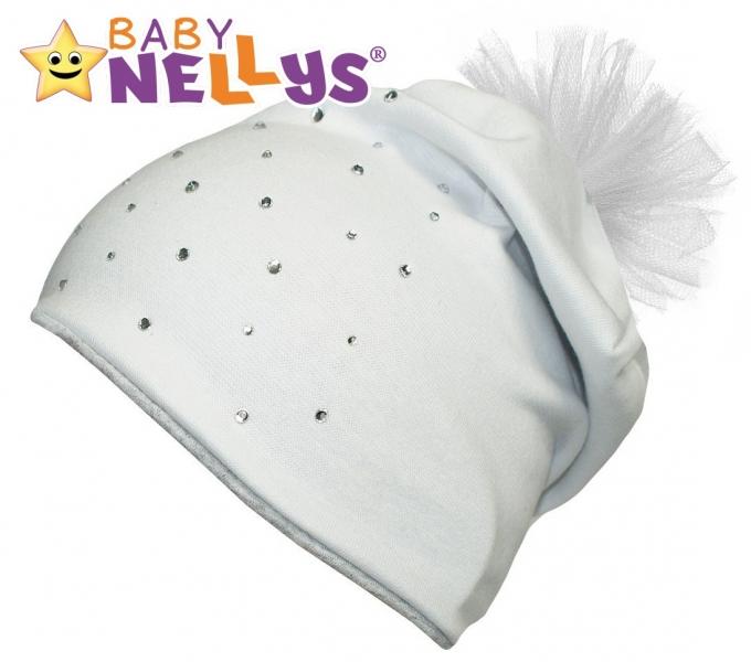 Bavlnená čiapočka Tutu kvetinka s kamienkami Baby Nellys ® - bielá