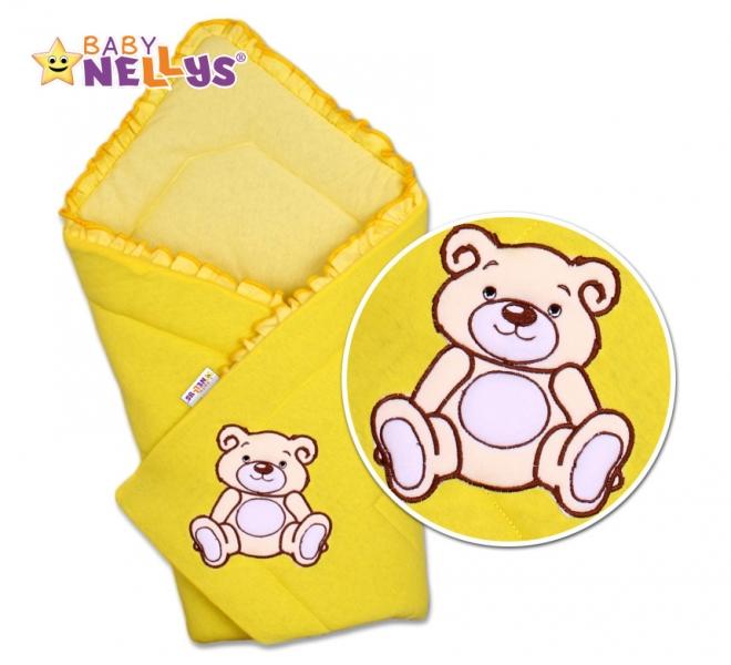 Baby Nellys Zavinovačka Teddy Bear  - velúr - žltá