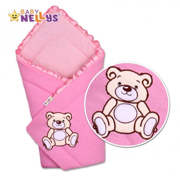 Baby Nellys Zavinovačka Teddy Bear - velúr - ružová