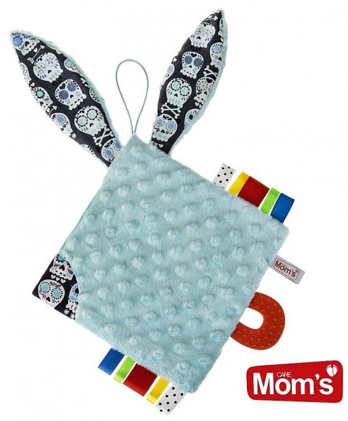 Edukačná hračka Hencz Kostičky šustík, s hryzátkom - MINKY - modrá