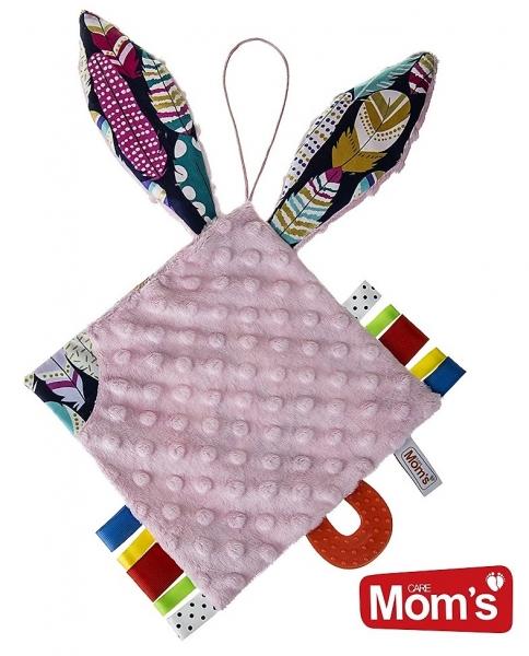 Edukačná hračka Hencz Kostičky šustík, s hryzátkom - MINKY - ružová