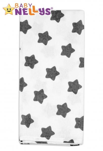 Flanelová plienka - Hviezdy sivé v bielej
